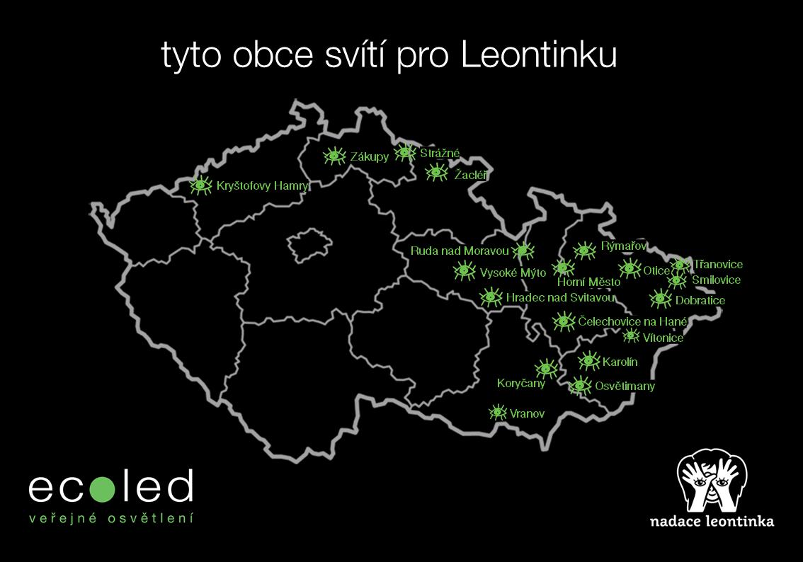 tyto obce svítí pro Nadaci Leontinka